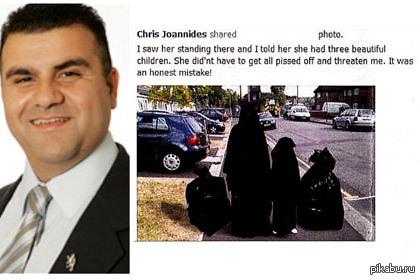 """""""Я сказал ей, что у неё три красивых ребёнка"""" Консервативная партия Великобритании исключила из своих рядов Энфилд Криса Джоанидиса за сравнение мусульманок в парандже с мусорными мешками."""