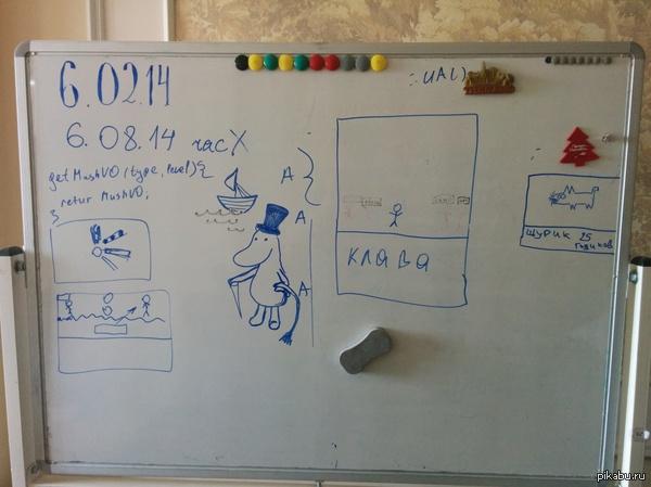 Вот так выглядит доска в нашем отделе Компания занимается играми, но рисуют на доске вечно что попало :)