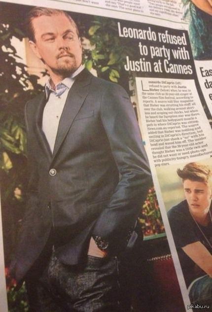 """Оскара этому джентельмену Согласно источнику, который поговорил с редакторами журнала """"Star"""", Леонардо Ди Каприо отказался позировать с  Бибером на вечеринке в Каннах в клубе """"Gotcha""""."""