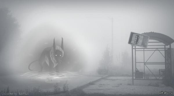 В тему поста http://pikabu.ru/story/_2405740 Конечно, вышло не так мрачно, но я пыталась. :D Оригинал существа скину в комментарии.