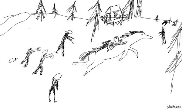"""Дети убегают на лошади от зомби"" Лёша, 27 годиков"