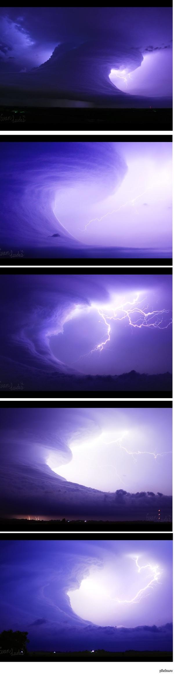 Грозовое цунами, суперячейка в штате Оклахома (США, 06.05.2012) Суперячейка – это очень мощная конвективное образование в атмосфере.