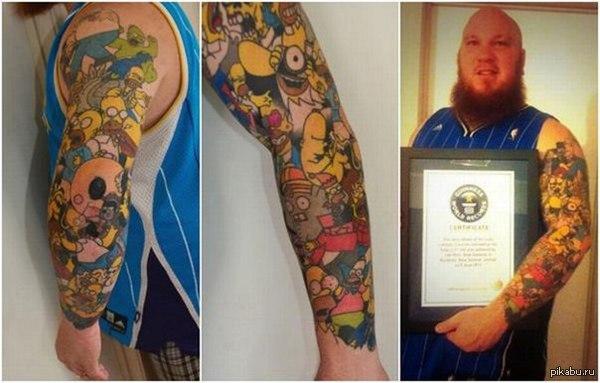 Преданность Новозеландец попал в книгу рекордов Гиннеса, сделав себе 41 татуировку с Гомером Симпсоном.