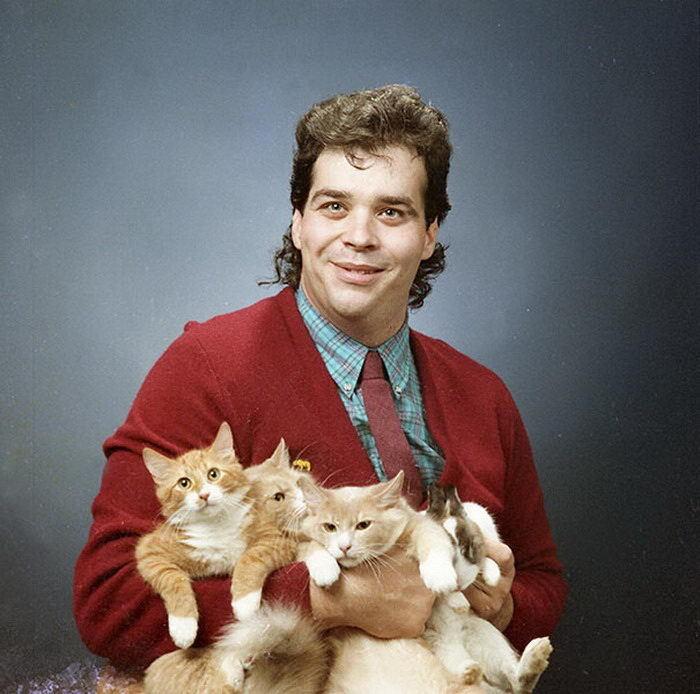 Фото мужчин с котами из 80-х... Кот, Милота, Свитер, 80-е, Котомафия, Длиннопост