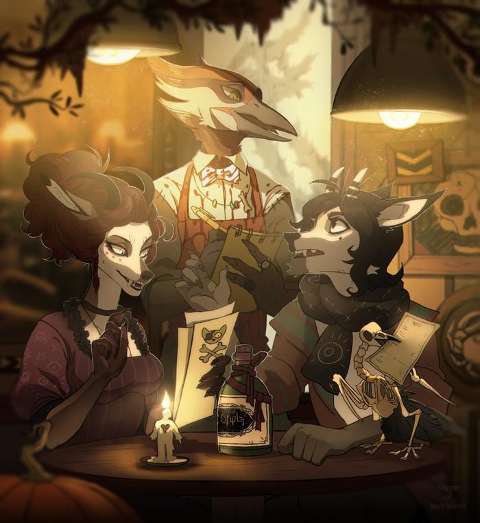 Ресторан Фурри, Арт, The Crown of Leaves, Хэллоуин, NatalieDeCorsair, Lingrimm, Коллаб