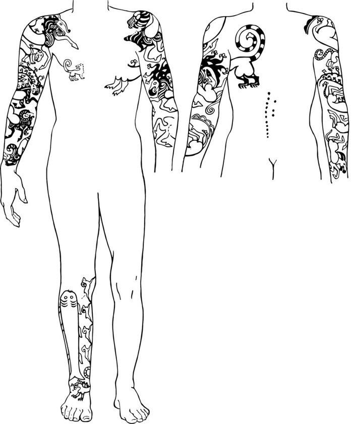 Ученый из Канады забил своё тело татуировками, найденными на 2500-летней сибирской мумии Тату, Эскиз татуировки, Сибирь, Скифы, Длиннопост