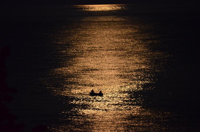 Лунная дорожка. Лето, Крым, Луна, Рыбалка, Море