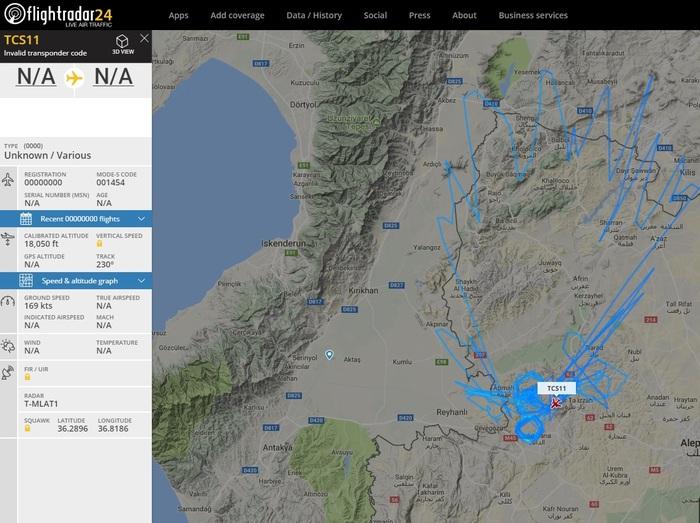 Турки опять летают над Сирией Flightradar24, Турция, Сирия
