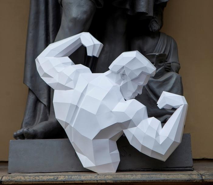 """Шварцнеггер в своей классической позе. Картонный """"Железный"""" Арни) Papercraft, Арнольд Шварценеггер, Бодибилдинг, Pepakura, Скульптура, Из бумаги, Творчество, Handmade, Длиннопост"""