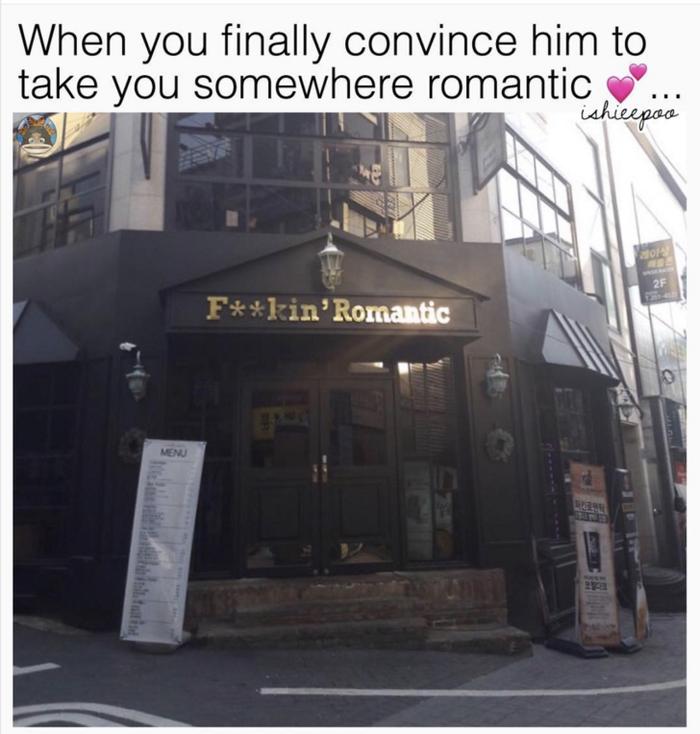 Когда наконец уговорила его сходить в какое-нибудь романтичное место отношения, романтика
