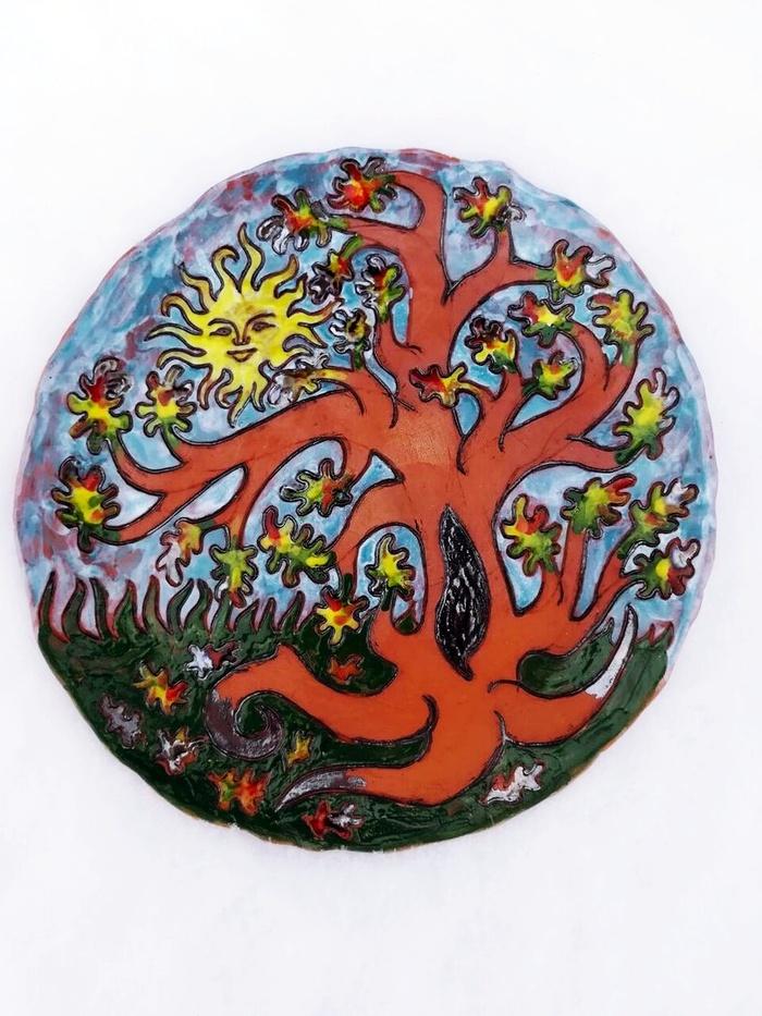 """Моя новая тарелочка """"Осенний полдень"""" Рукоделие без процесса, Ручная работа, Керамика, Посуда, Handmade, Алхимия, Дерево, Рисунок, Длиннопост"""
