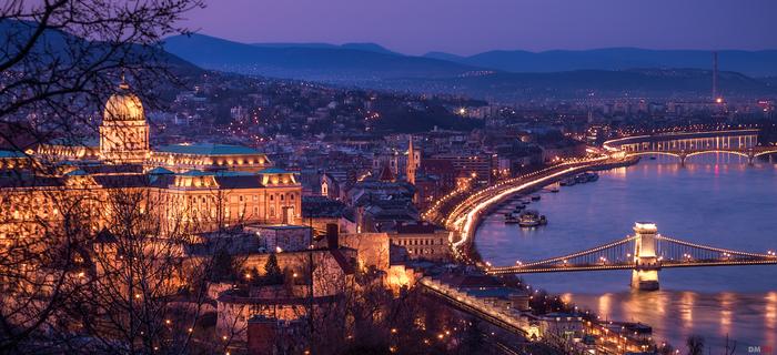 Крепость. Вечер, Город, Архитектура, Река, Мост, Горы, Будапешт