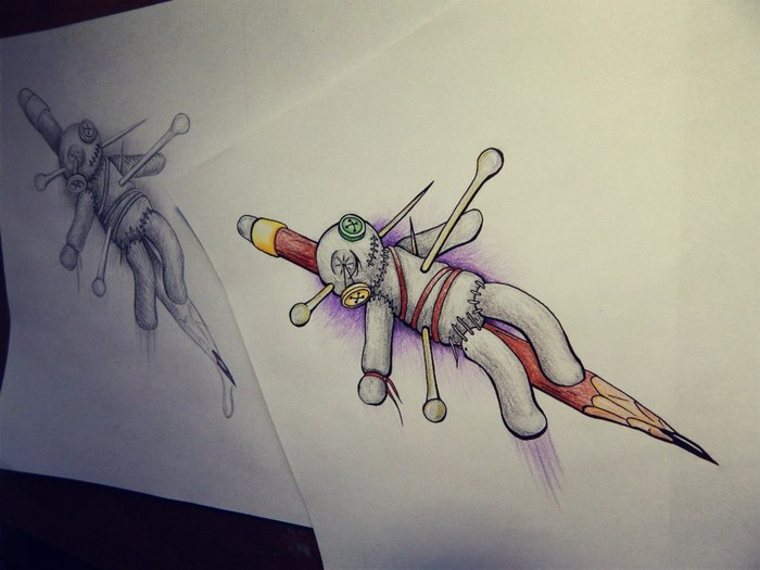 Кукла Рисунок, Цветные карандаши, Лайнер, Кукла Вуду