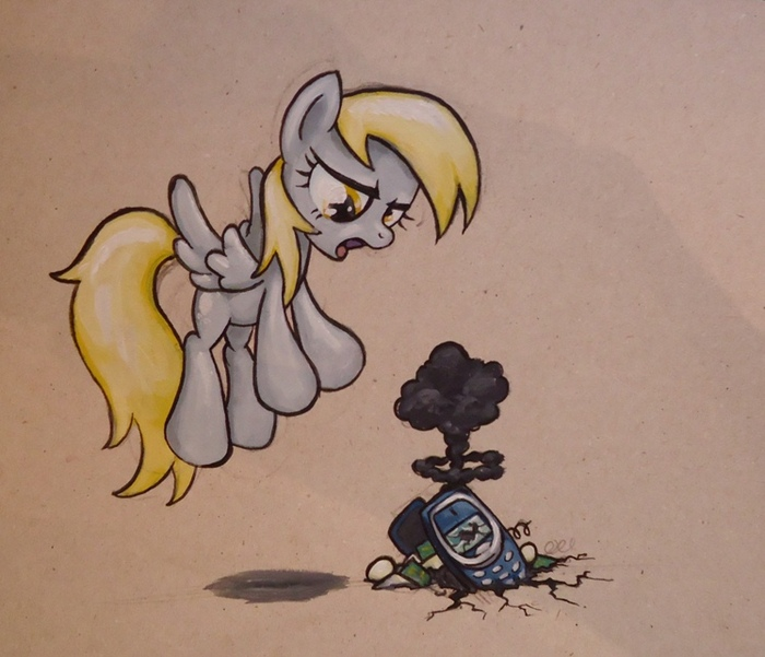Dammit! Not Again... My Little Pony, Ponyart, Derpy Hooves, Nokia 3310