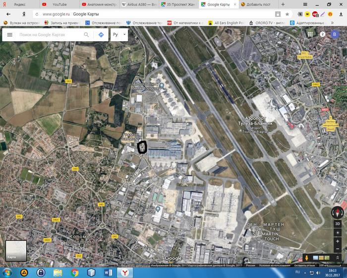 Неожиданный поворот... Франция, Вот это поворот, Google maps, Airbus A380, Тулуза, Длиннопост