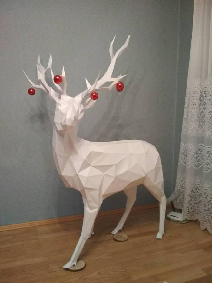 Новогодний олень из бумаги Олень, Бумага, Papercraft, Papersculpt, Papermodels