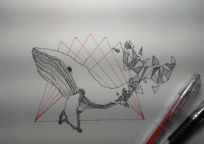 Китенок:3 Графика, Рисунок ручкой, Начинающий, Хочу критики, Кит