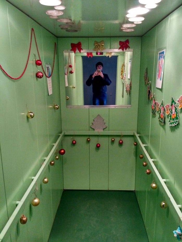 Соседи украсили лифт к Новому году Новый год, добрые соседи, лифт, длиннопост