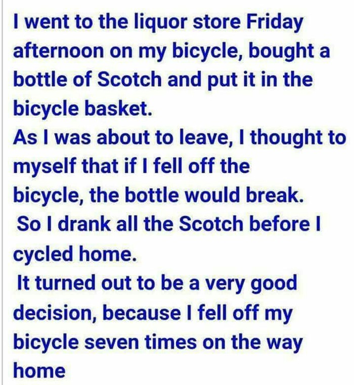 Правильное решение алкоголь, пятница, велосипед