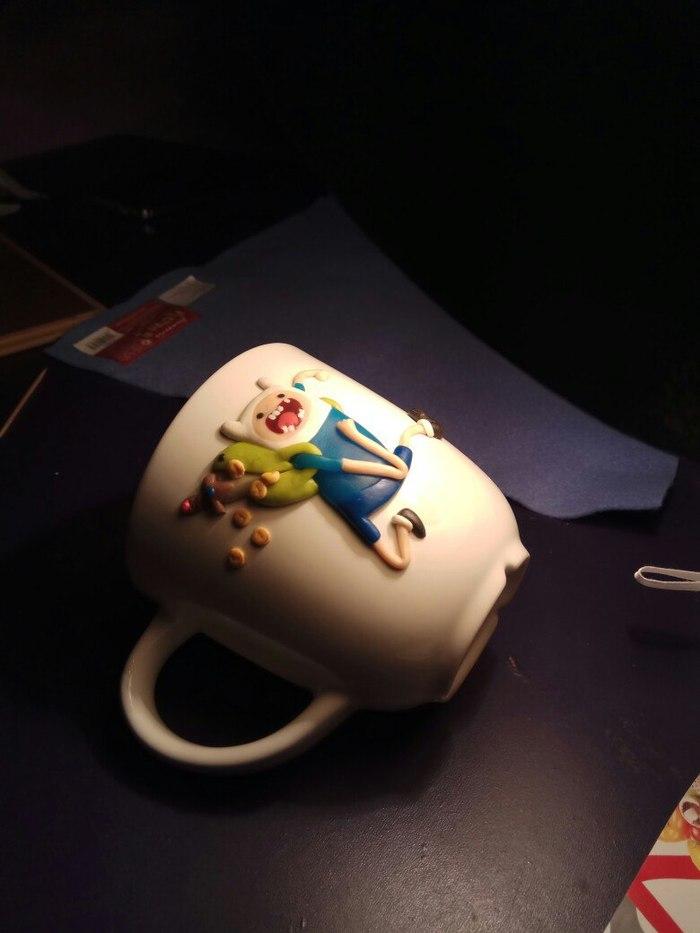 Finn из полимерной глины на кружке. Сегодня пятница, а значит можно) Finn, Adventure time, Полимерная глина, Длиннопост
