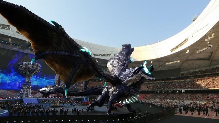 Призывая дракона League of Legends, Дракон, Dev, Дополненная реальность, Worlds 2017, Киберспорт, Riot games, Видео, Длиннопост