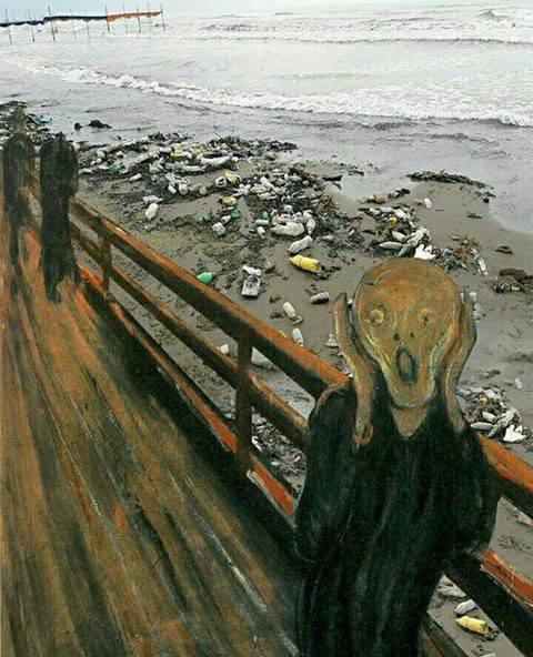 На современный лад .. Экология, Искусство, Photoshop, Черный юмор, Современность, Крик, Эдвард Мунк, Природа и человек