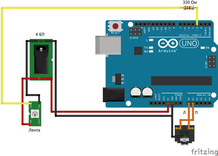 Простая и красивая цветомузыка на Новый год Arduino, Ws2812b, Музыка, Новый Год, Программирование, Микроконтроллеры, Длиннопост