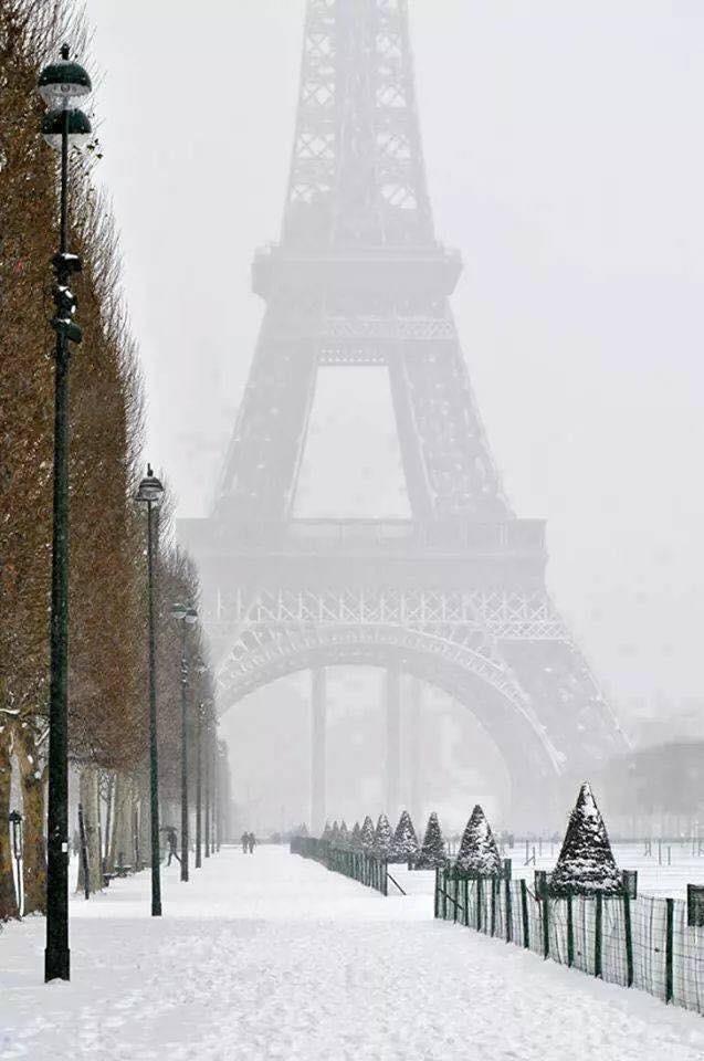 Зима в Париже Зима, Эйфелева башня, Париж