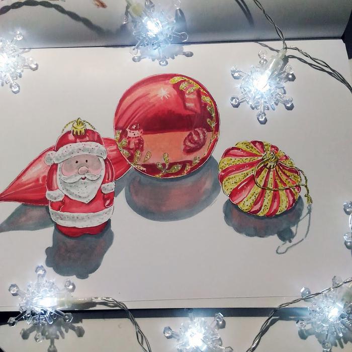 Елочные игрушки Маркер, Спиртовые маркеры, Рисунок на бумаге, Елочные игрушки, Дед Мороз