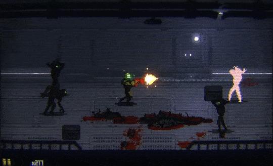 Cryoshock - мрачная, кровавая 2д игра с элементами beat em up про беготню на космических кораблях. Демка внутри :) Выживание, Космос, Dead Space, Beat em up, Гифка