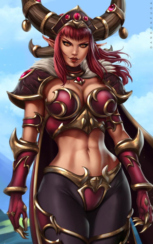 Королева драконов Warcraft, Алекстраза, Арт, Рисунок, Dandonfuga