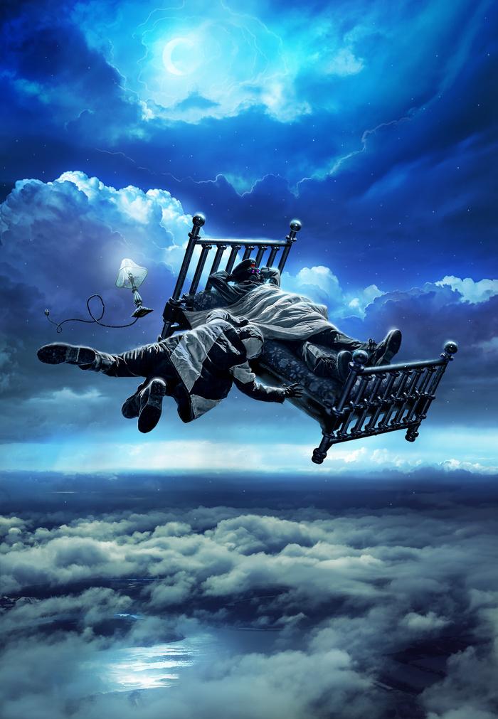 Превращаю фотку игрушечной кроватки в панель моего комикса Романтика Апокалипсиса. Кровать, Сон, Полет, Photoshop, Romantically apocalyptic, Апокалипсис, Арт, До и после, Гифка, Длиннопост