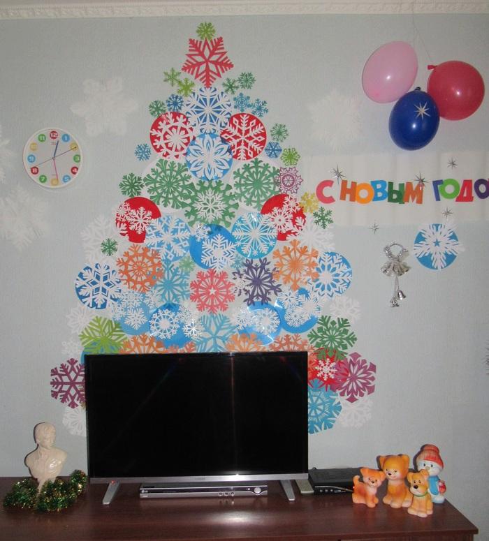 Ёлка из снежинок Новый Год, Ёлка, Снежинка, Дед, Праздники