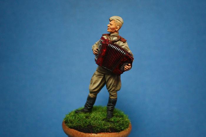Лейтенант Красной Армии с аккордеоном, праздничное мое Миниатюра, Хобби, Вторая мировая война, Аккордеон, Роспись, Длиннопост
