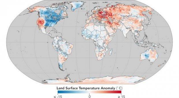 Аномальная погода в мире: в NASA показали впечатляющую карту погода, аномальная погода, карта мира, NASA