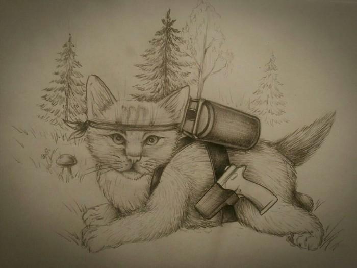 Немного котобреда Кот, Рисунок карандашом, Стихотворение без рифмы