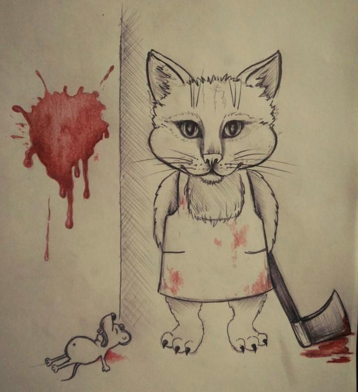 И снова котобред Кот, Стихотворение без рифмы, Рисунок карандашом