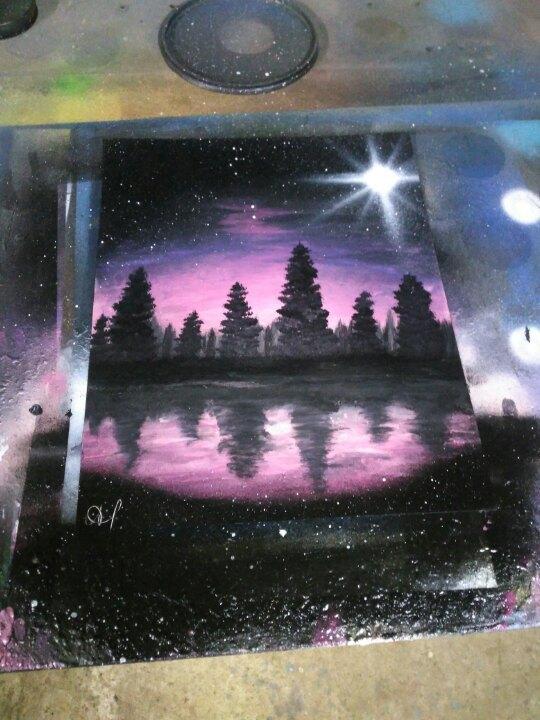 Хотелось сделать градиент в spray art... Spacepainting, Spray art, Арт, Картина, Акрил, Баллончик
