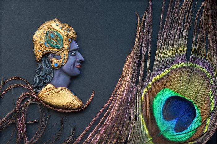 Кришна: барельеф по мотивам сериала Кришна, Барельеф, Портрет, Лепка, Индуизм, Индия, Махабхарата, Скульптурная миниатюра