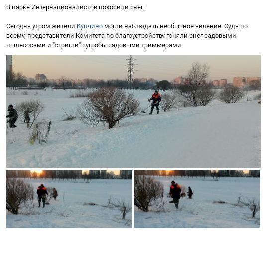 В Петербурге зимой косят снег