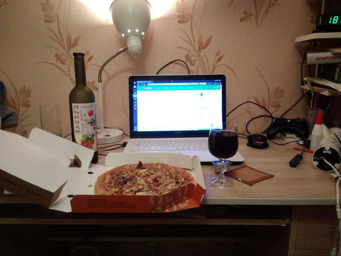 Фото Фотография, Пицца, Вино