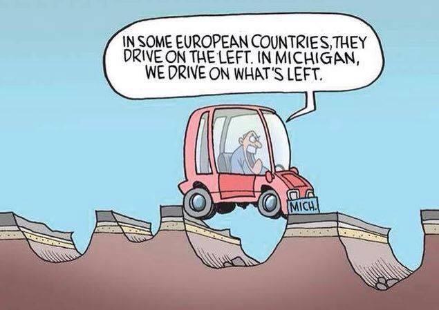 На тему дорог в Мичигане Мичиган, Дорога, Яма, Выбоина
