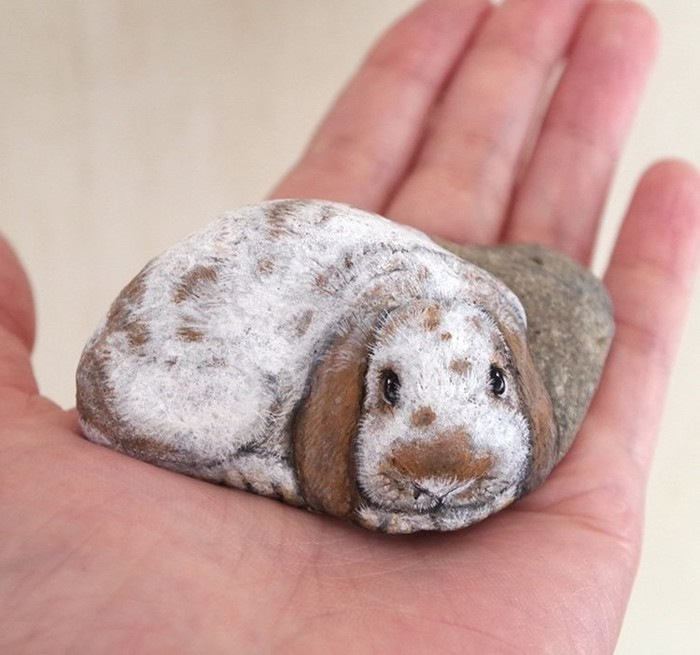 Это просто волшебство: Японка превращает камни в очаровательных животных животные, искусство, Камень, милота, рисунок, японка, длиннопост, фотография