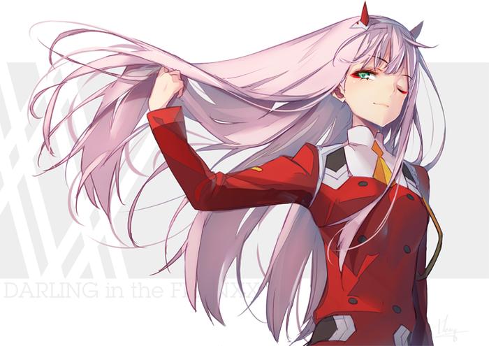 Пафосное движение волосами Аниме, Anime Art, Darling in the franxx, Zero two