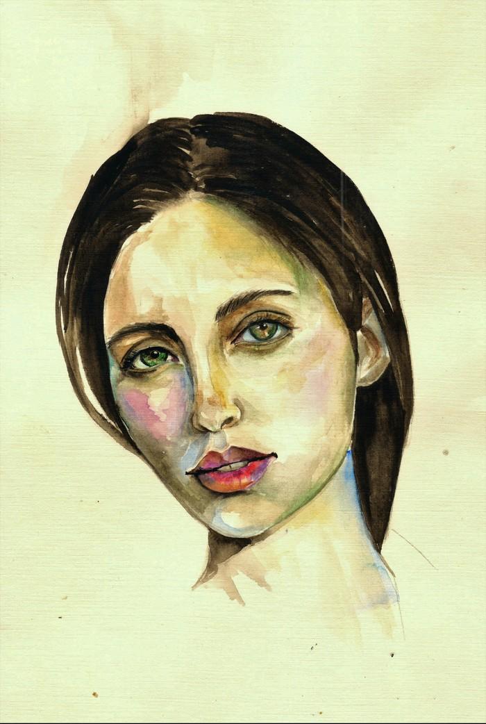 Портреты незнакомок Акварель, Лен, Незнакомка, Полночь, Длиннопост