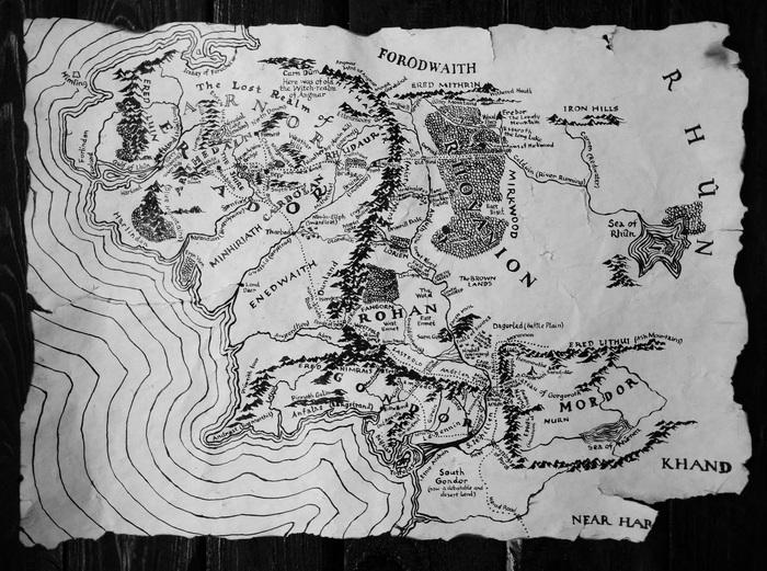 Средиземье Карта мира, Средиземье, Толкин, Своими руками, Длиннопост