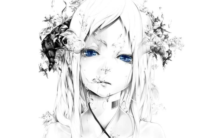Graphic art Аниме, Арт, Рисунок, Красивая девушка, Белый, Серый, Голубой, Глаза