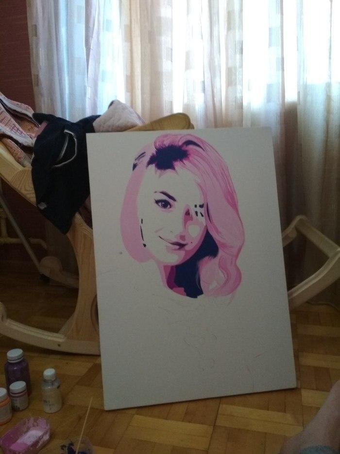 Как я девушке своей подарок рисовал))) Поп-Арт, Портрет, Акрил, Холст, Длиннопост