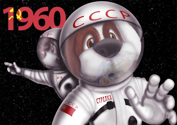 С Днем Космонавтики! Моё, Рисунок, Космос, Белка, Стрелка, Цифровой рисунок, Иллюстрации, Полет
