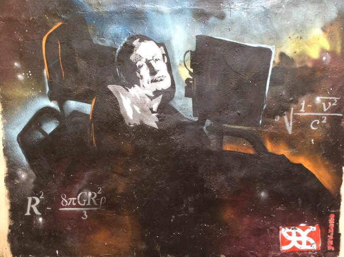 Граффити со Стивеном Хокингом ко Дню космонавтики Фотография, Арт, Граффити, Стивен Хокинг, Санкт-Петербург, Явь, TJournal